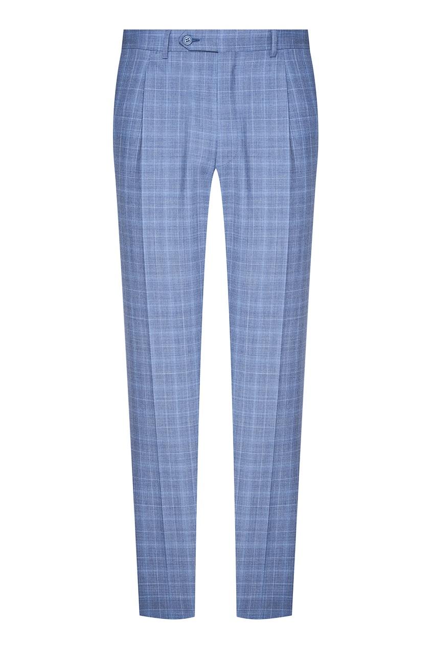 Серо-голубой костюм в клетку