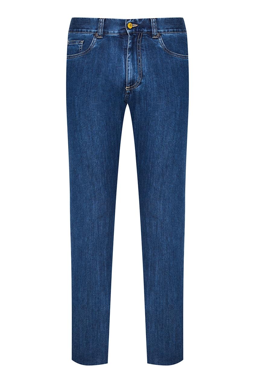 Canali Синие джинсы с выбеливанием