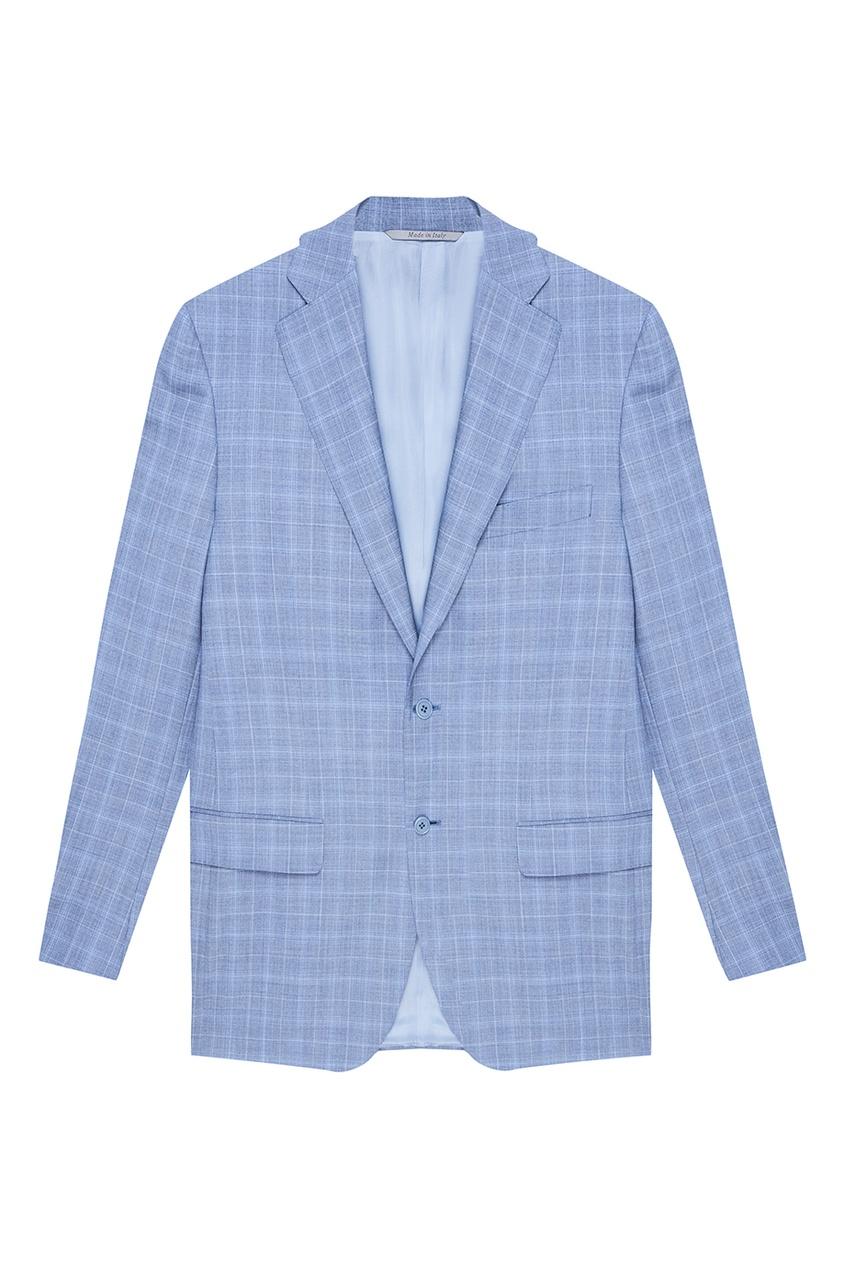 Canali Серо-голубой костюм в клетку жилет серо голубого цвета brums ут 00008821