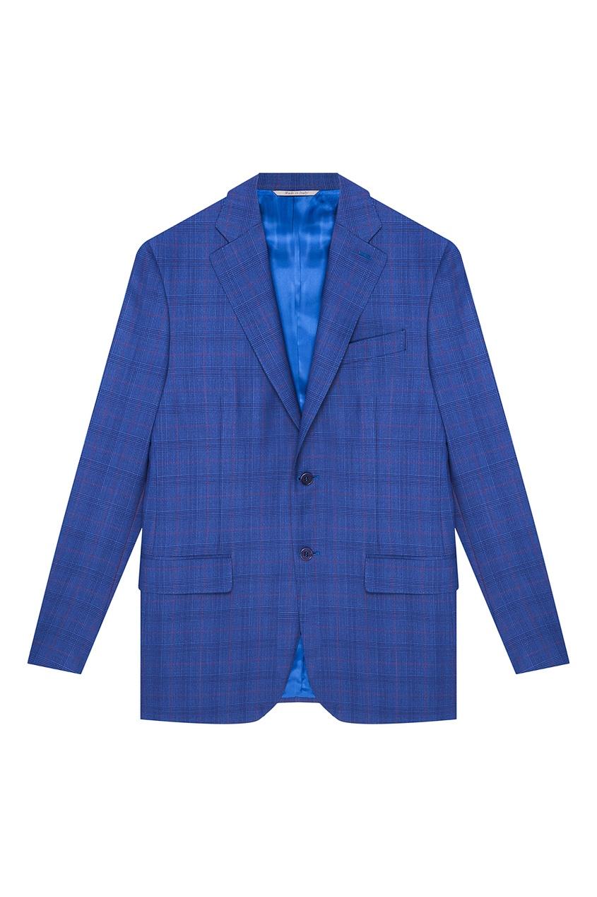 Синий шерстяной костюм в клетку Canali