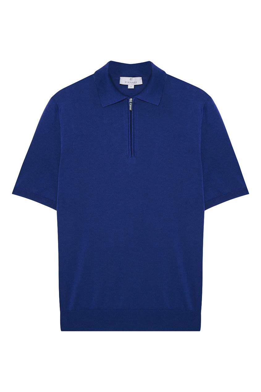 Купить Синий джемпер-поло с молнией от Canali синего цвета