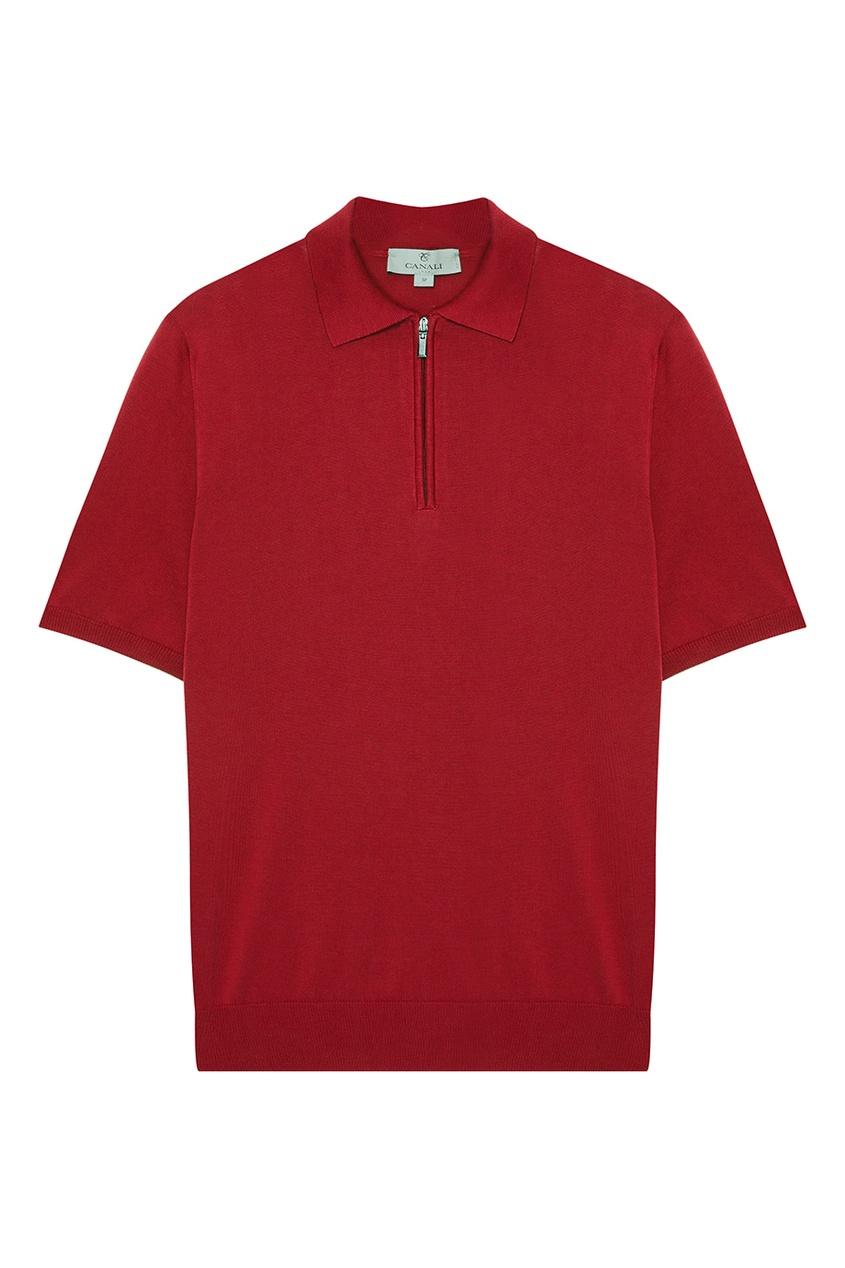 Canali Красный хлопковый джемпер-поло с молнией