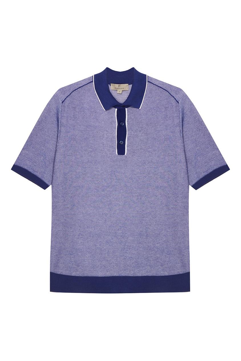 Купить Синий меланжевый джемпер-поло от Canali синего цвета