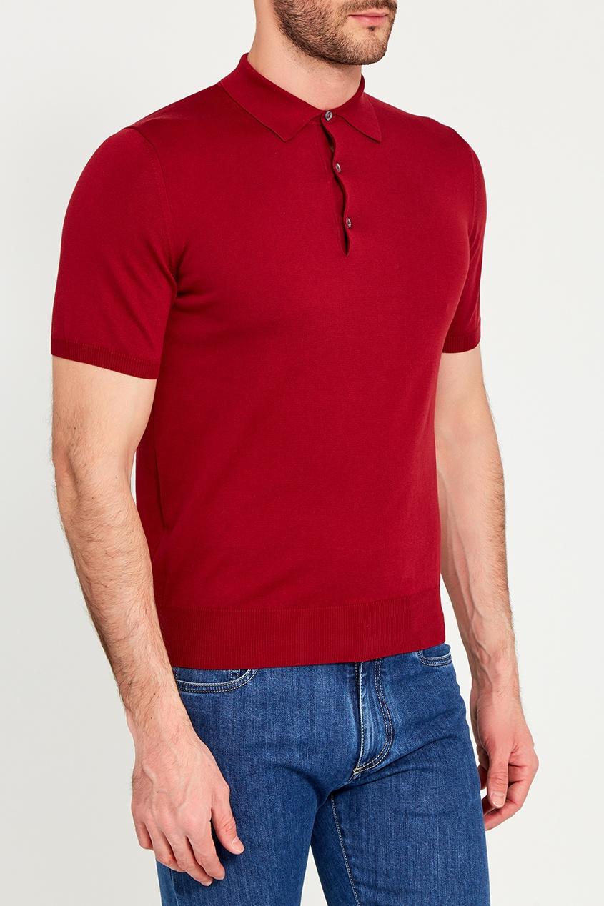 Canali Красный хлопковый джемпер-поло с пуговицами canali черный хлопковый кардиган на молнии