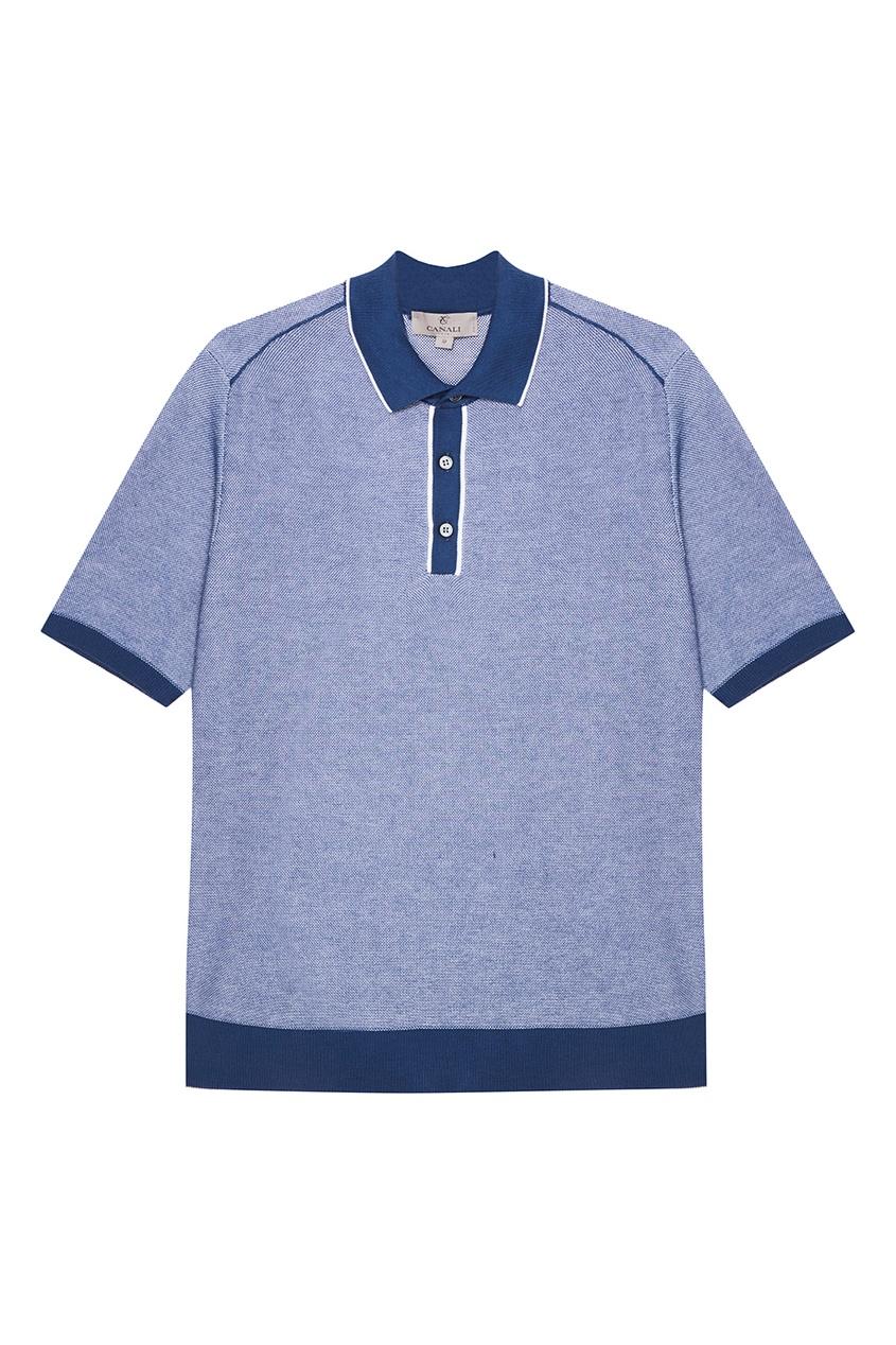 Купить Голубой меланжевый джемпер-поло от Canali голубого цвета