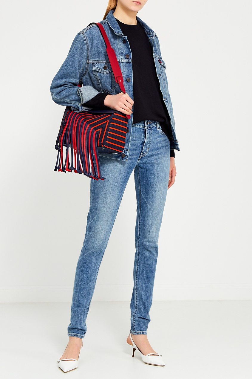 LOEWE Кожаная сумка с бахромой Puzzle