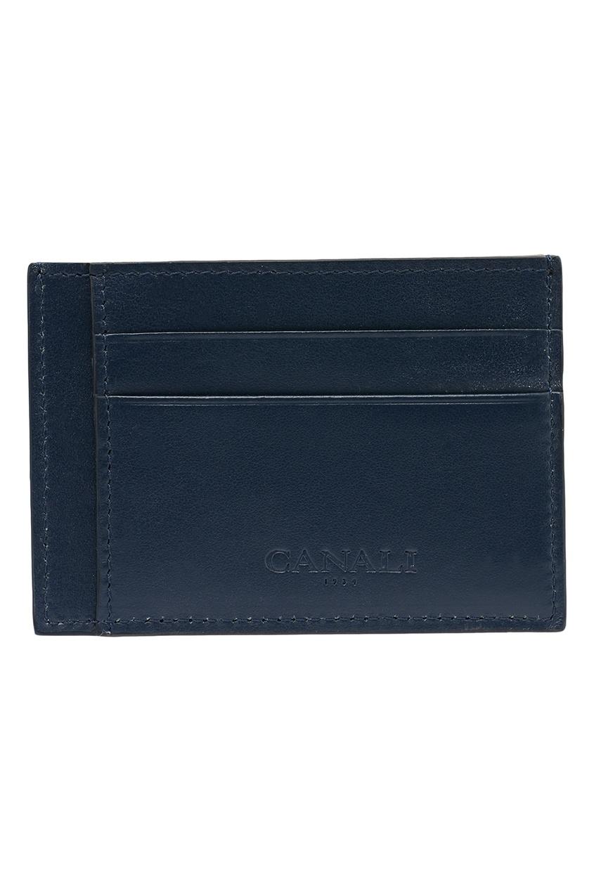 Canali Синий кожаный футляр для карт