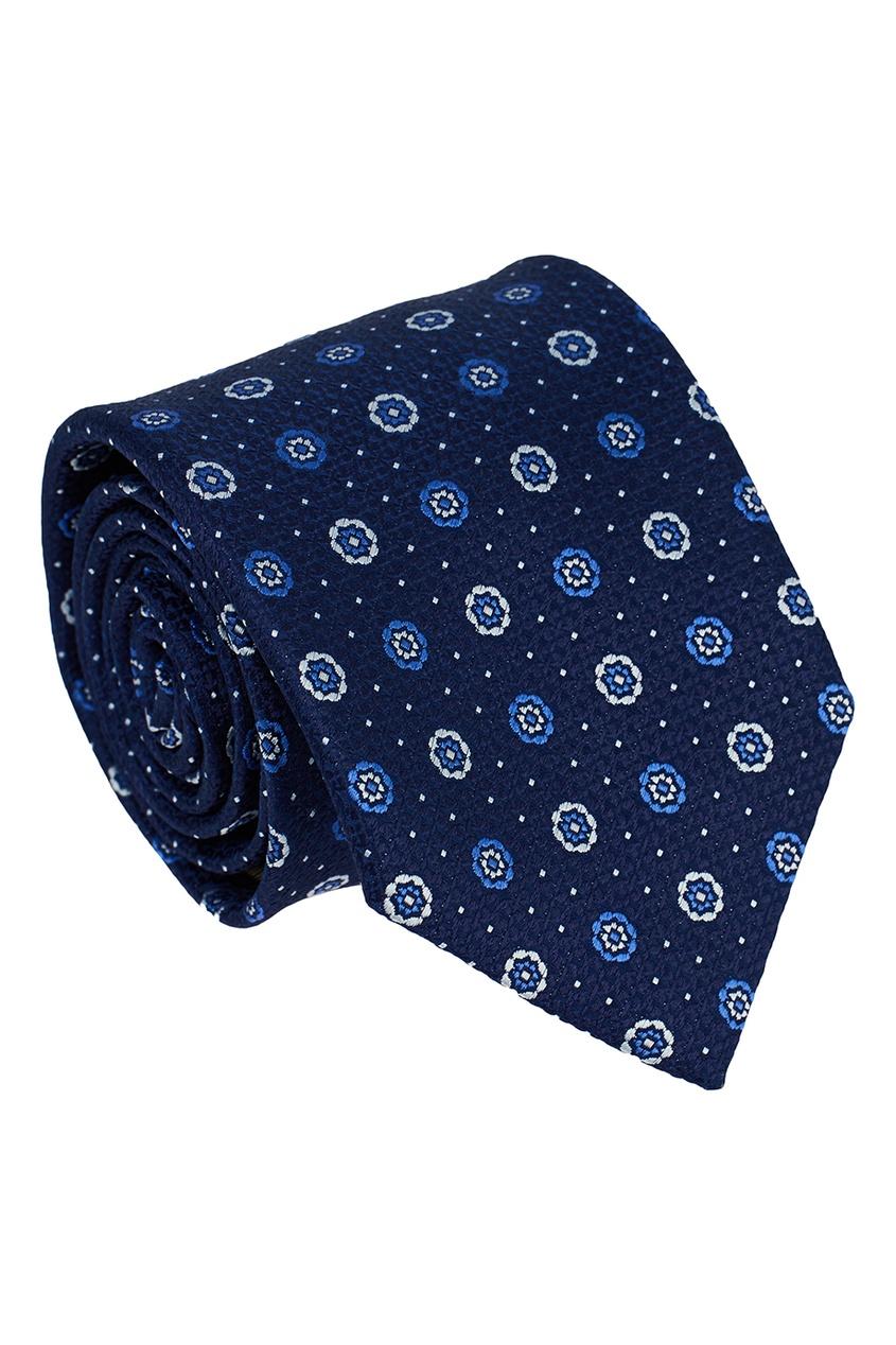 Canali Шелковый галстук с мелкими цветами