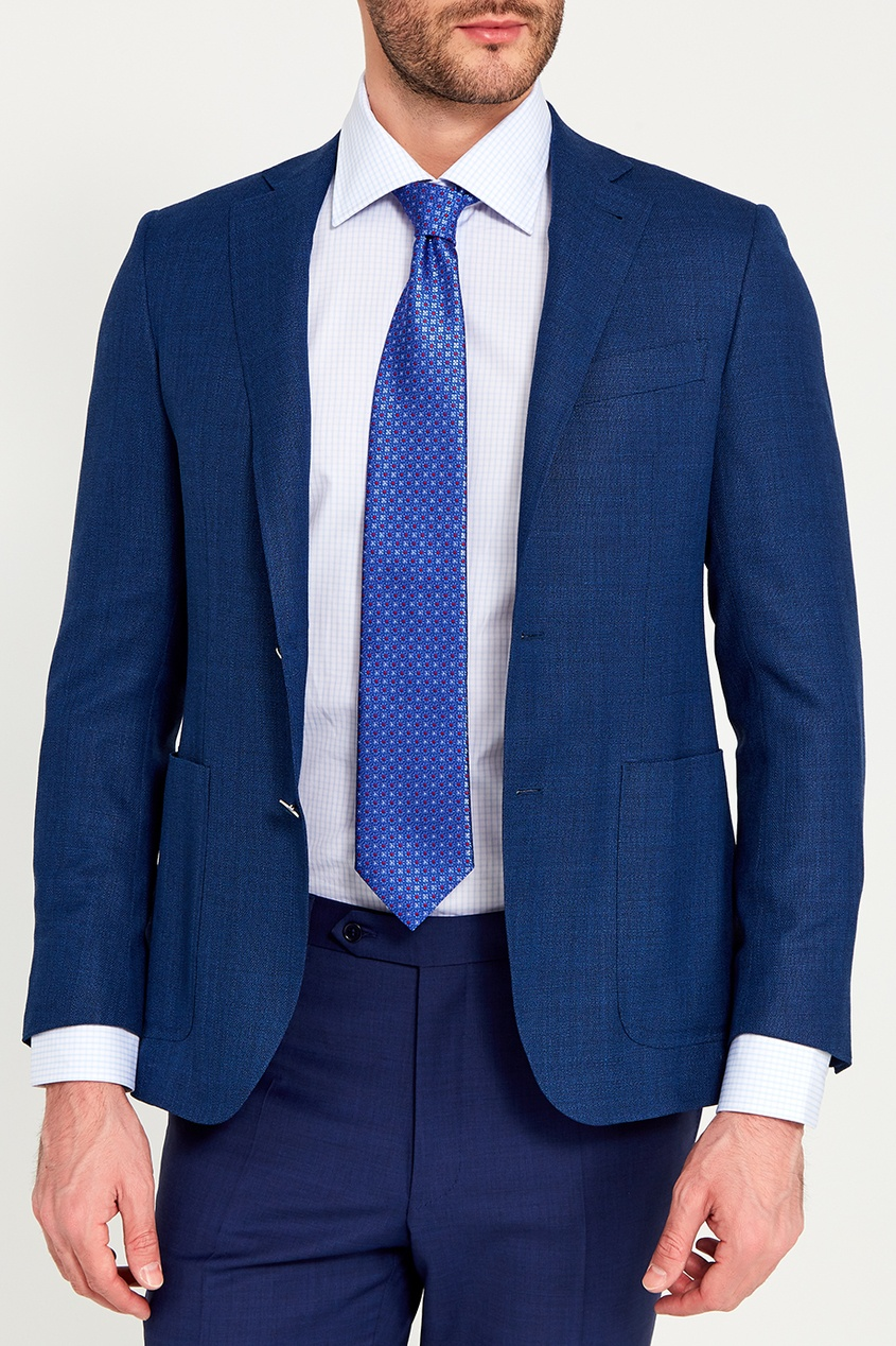 Canali Синий жаккардовый галстук с цветами pollini галстук pollini