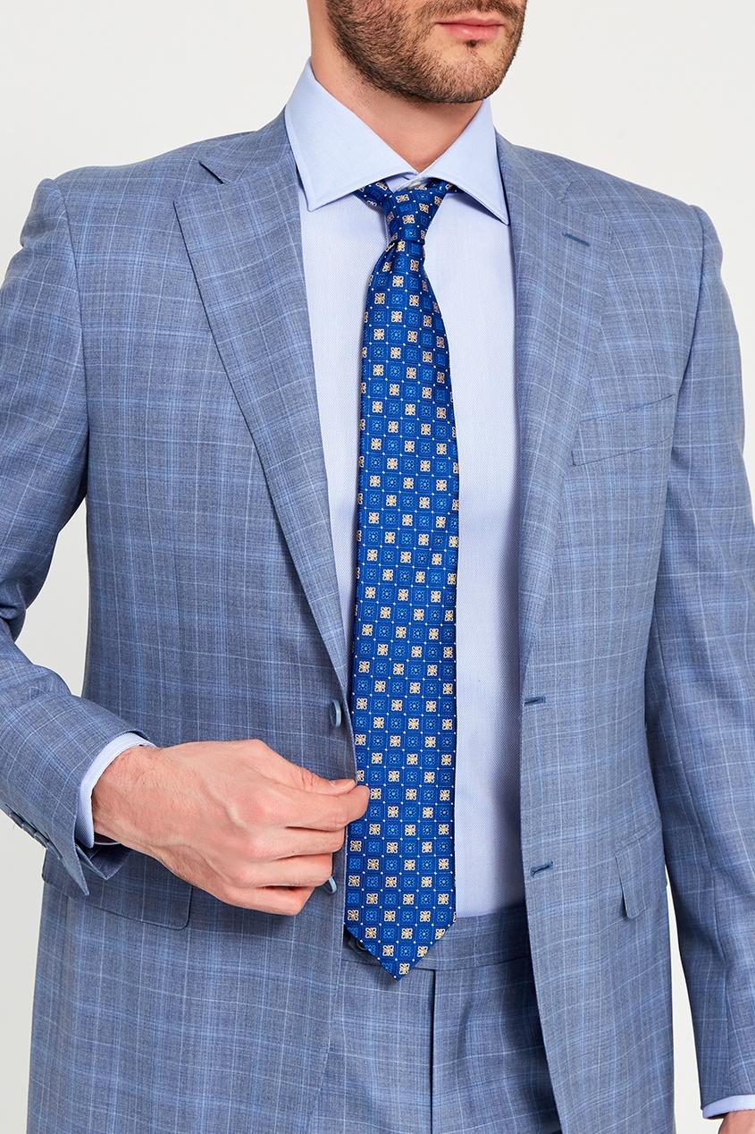 Canali Шелковый галстук с контрастным орнаментом canali пальто с контрастным узором