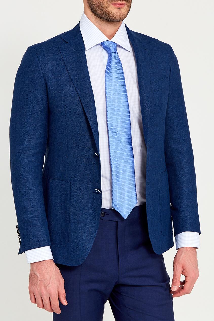 Canali Голубой галстук из текстурированного шелка canali шелковый кушак для смокинга