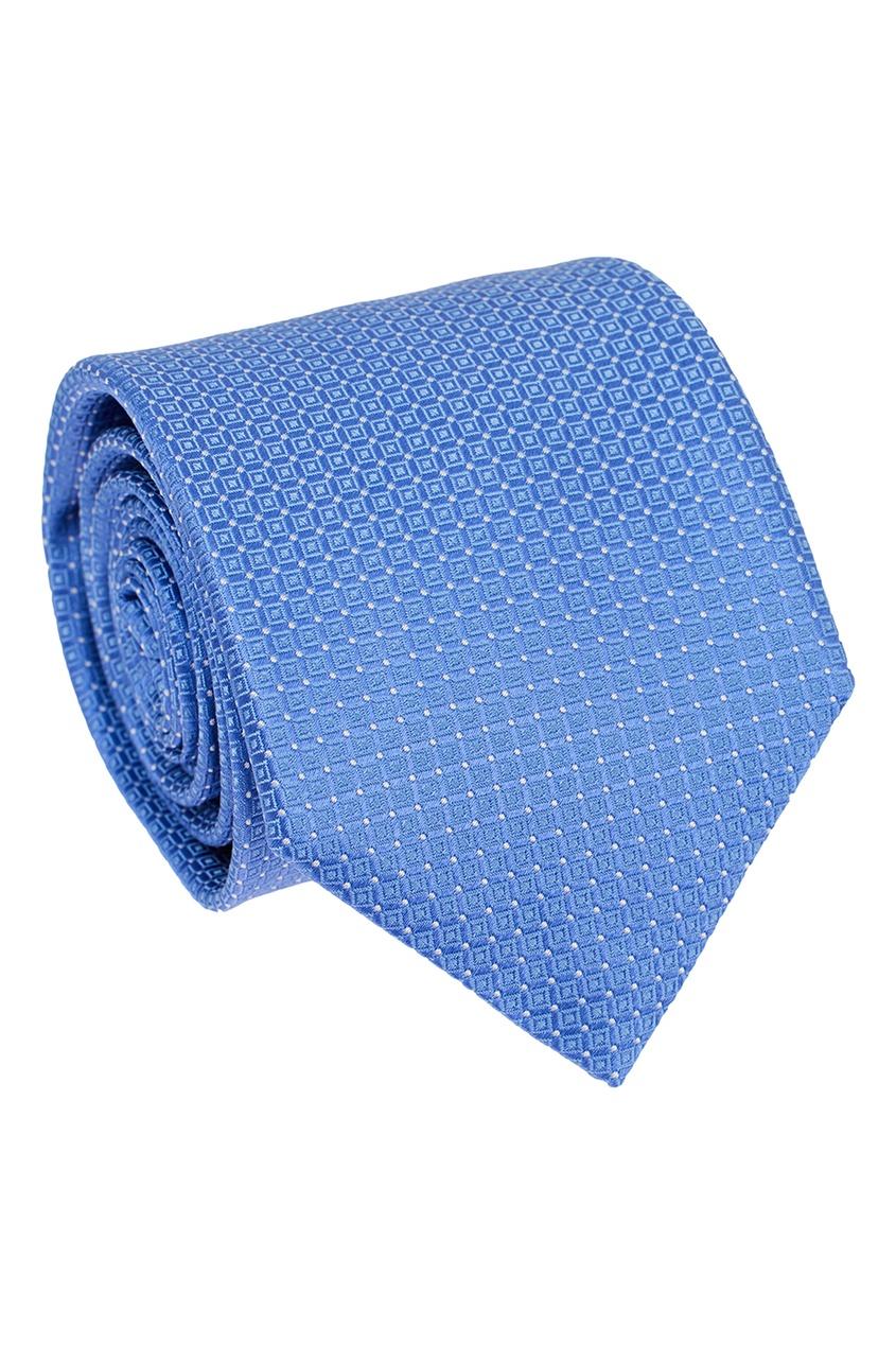 Canali Голубой галстук из текстурированного шелка