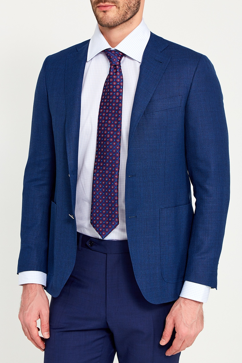 Canali Синий шелковый галстук с цветами pollini галстук pollini