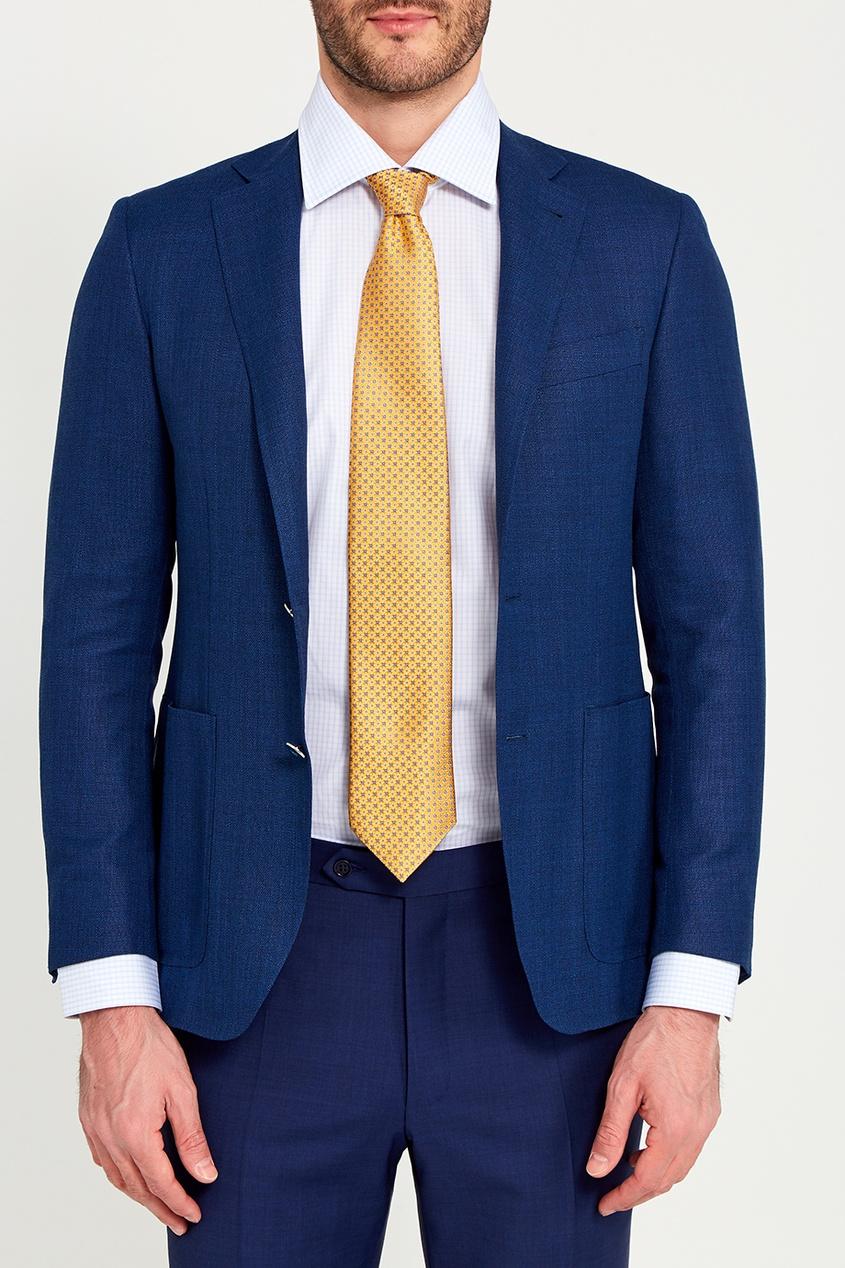 Canali Желтый шелковый галстук с орнаментом