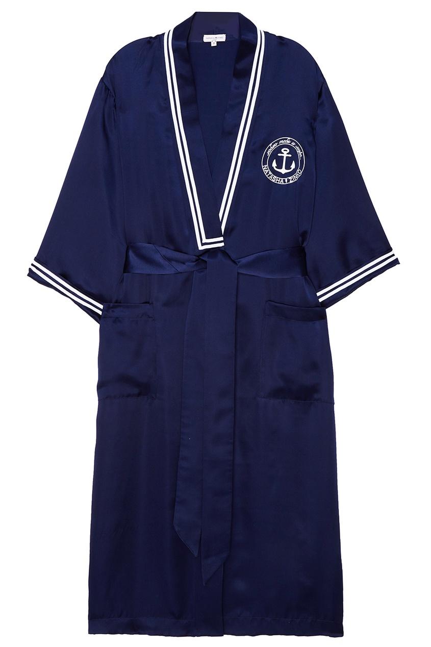 Купить со скидкой Шелковое платье-халат