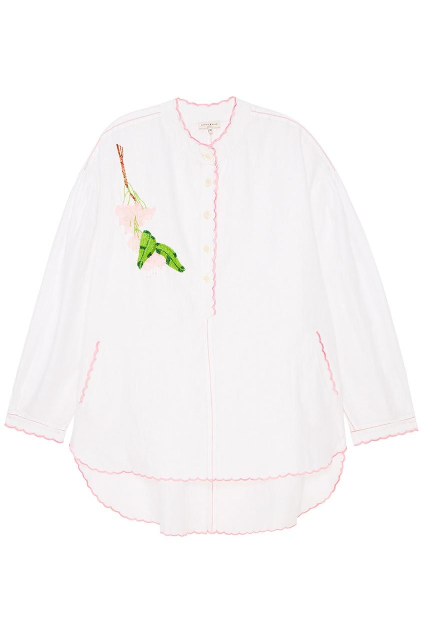 Natasha Zinko Льняная блузка с вышивкой объемная вышивка с бисером