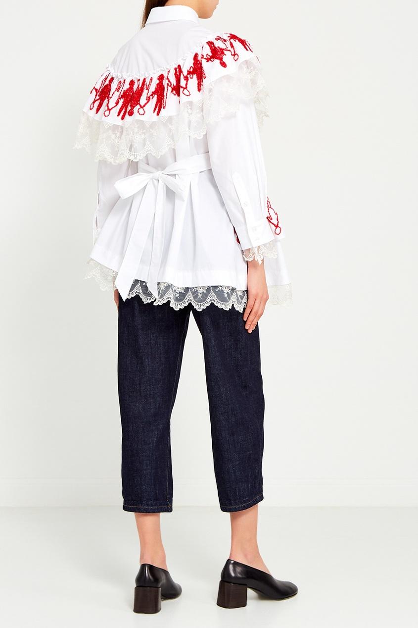 цена Simone Rocha Асимметричная блузка с кружевом и вышивкой онлайн в 2017 году
