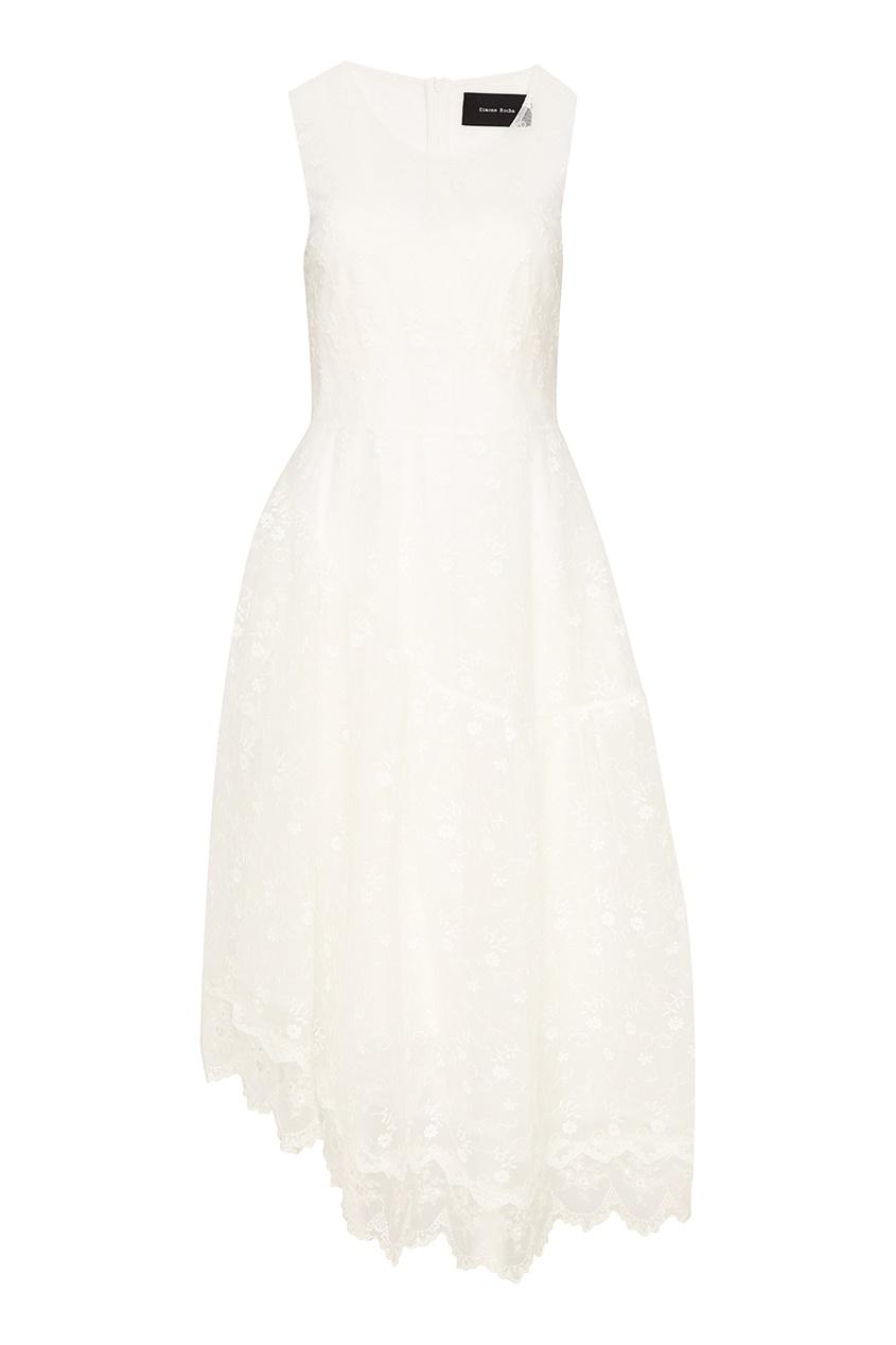 цена Simone Rocha Белое кружевное платье онлайн в 2017 году