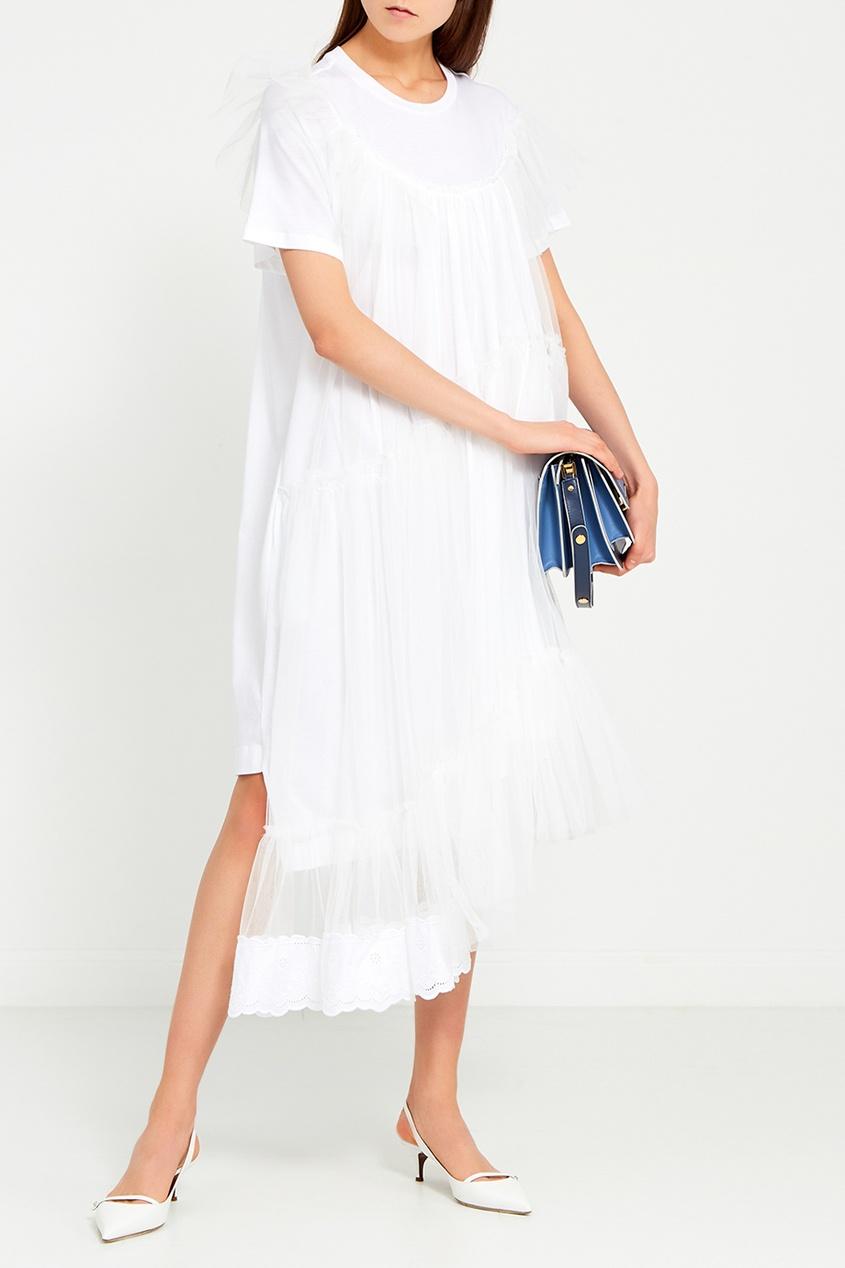 цена Simone Rocha Белое платье с оборкам онлайн в 2017 году