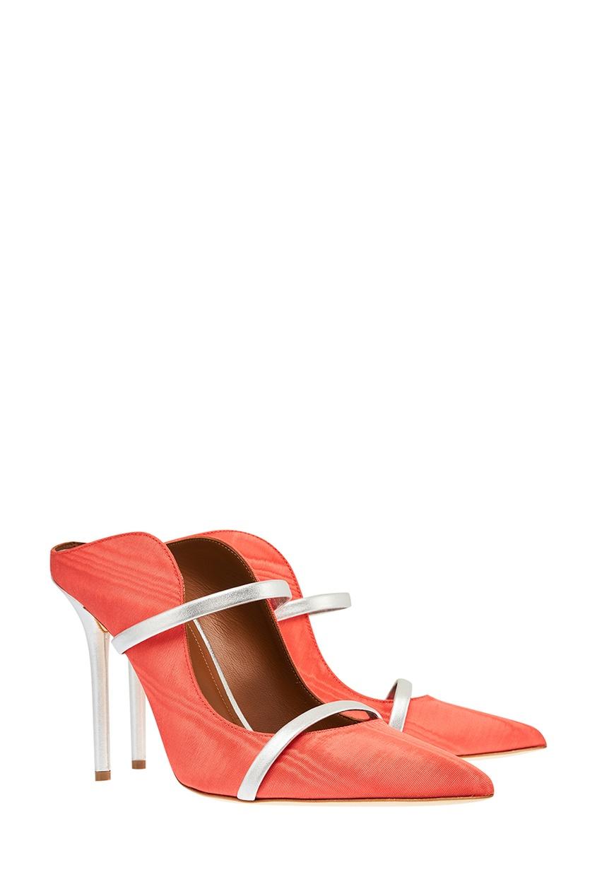 Оранжевые туфли Maureen с двойной серебристой полоской