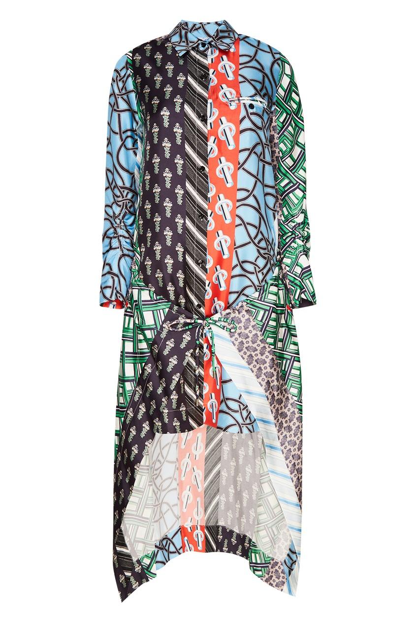 Carven Шелковое платье со смешанными принтами платья с принтами