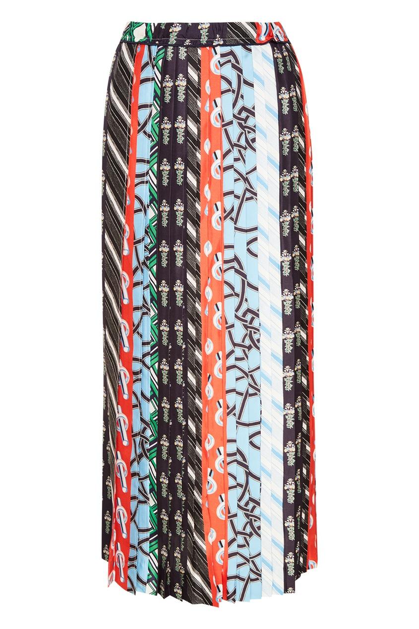 Цветная шелковая юбка-миди