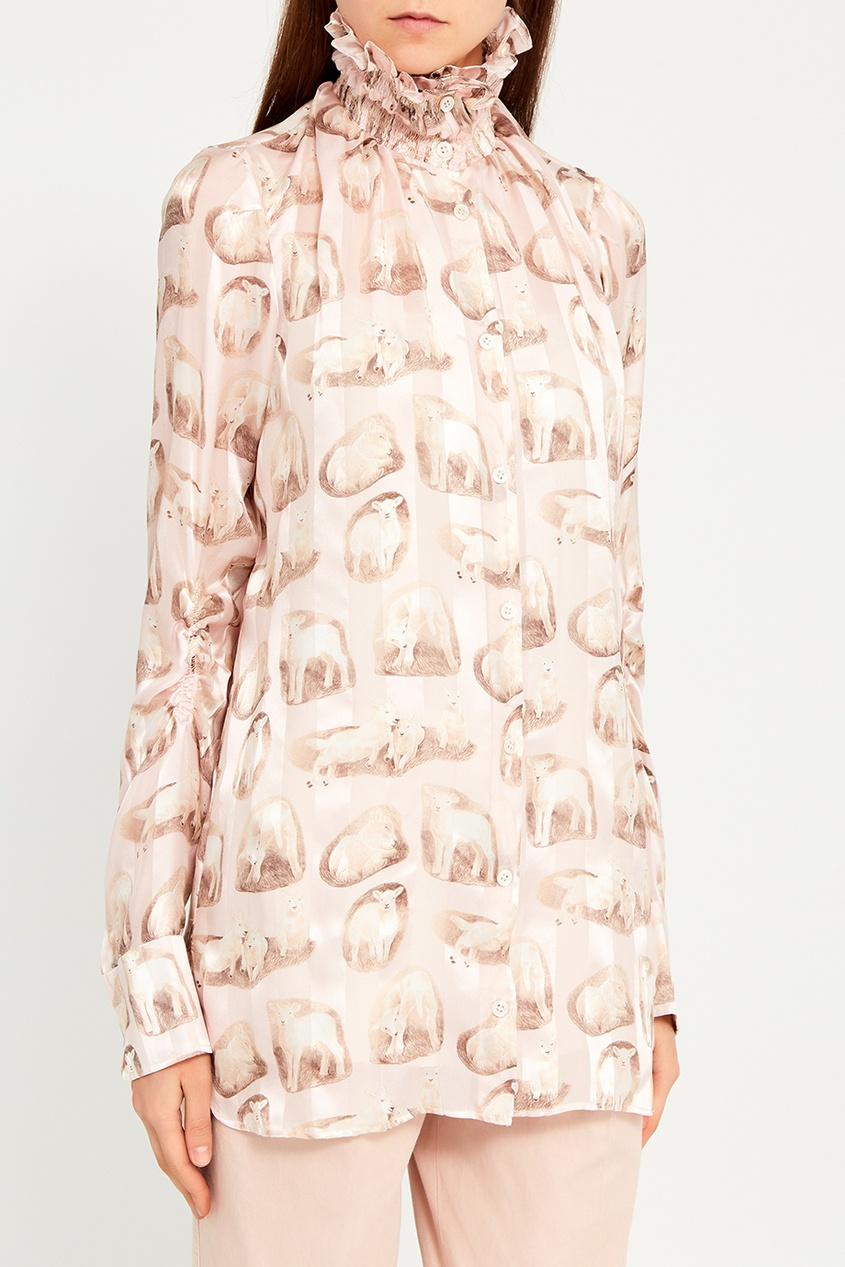 Carven IШелковая блузка с принтом