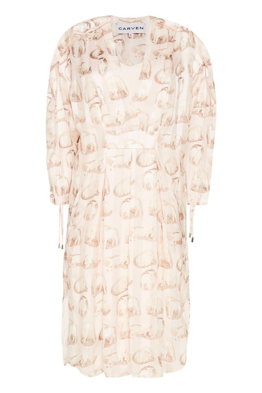Carven Шелковое платье с принтом