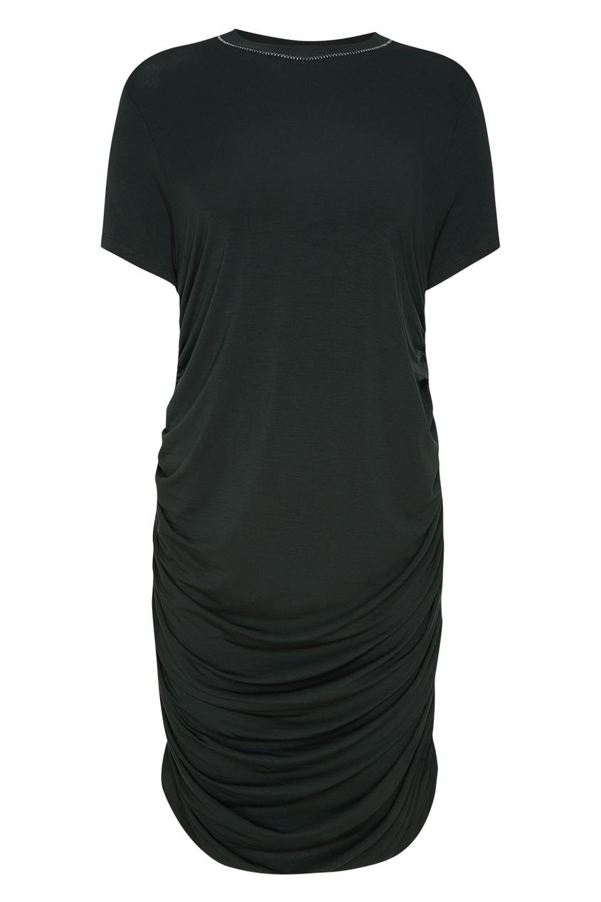 Платье-футболка с драпировкой снизу