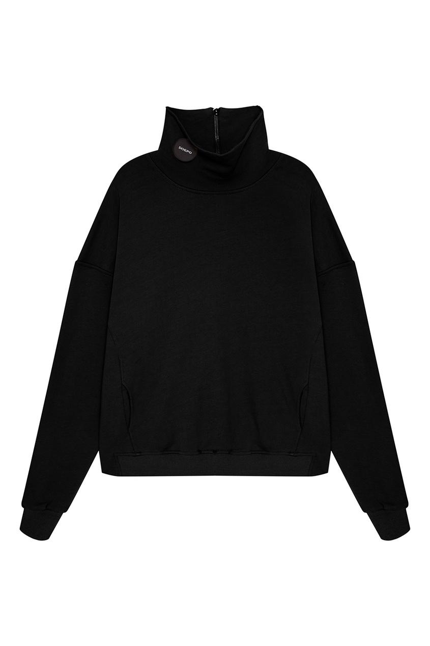 Черный свитер с молнией на воротнике
