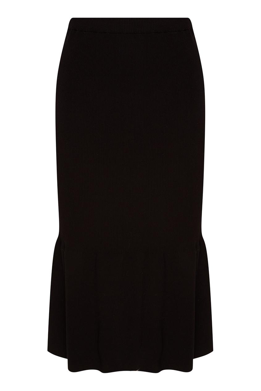 Черная юбка с крупными складками