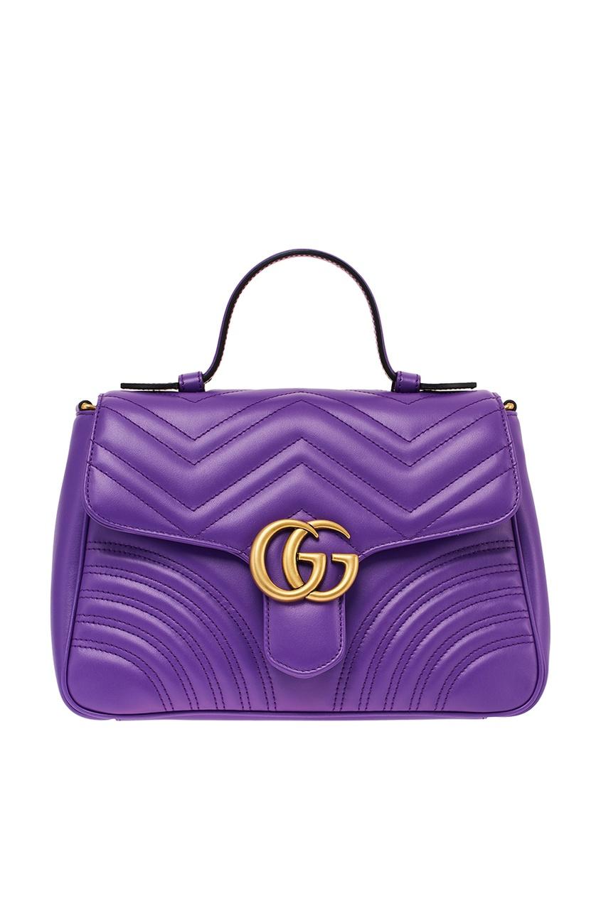 Стеганая фиолетовая сумка GG Marmont
