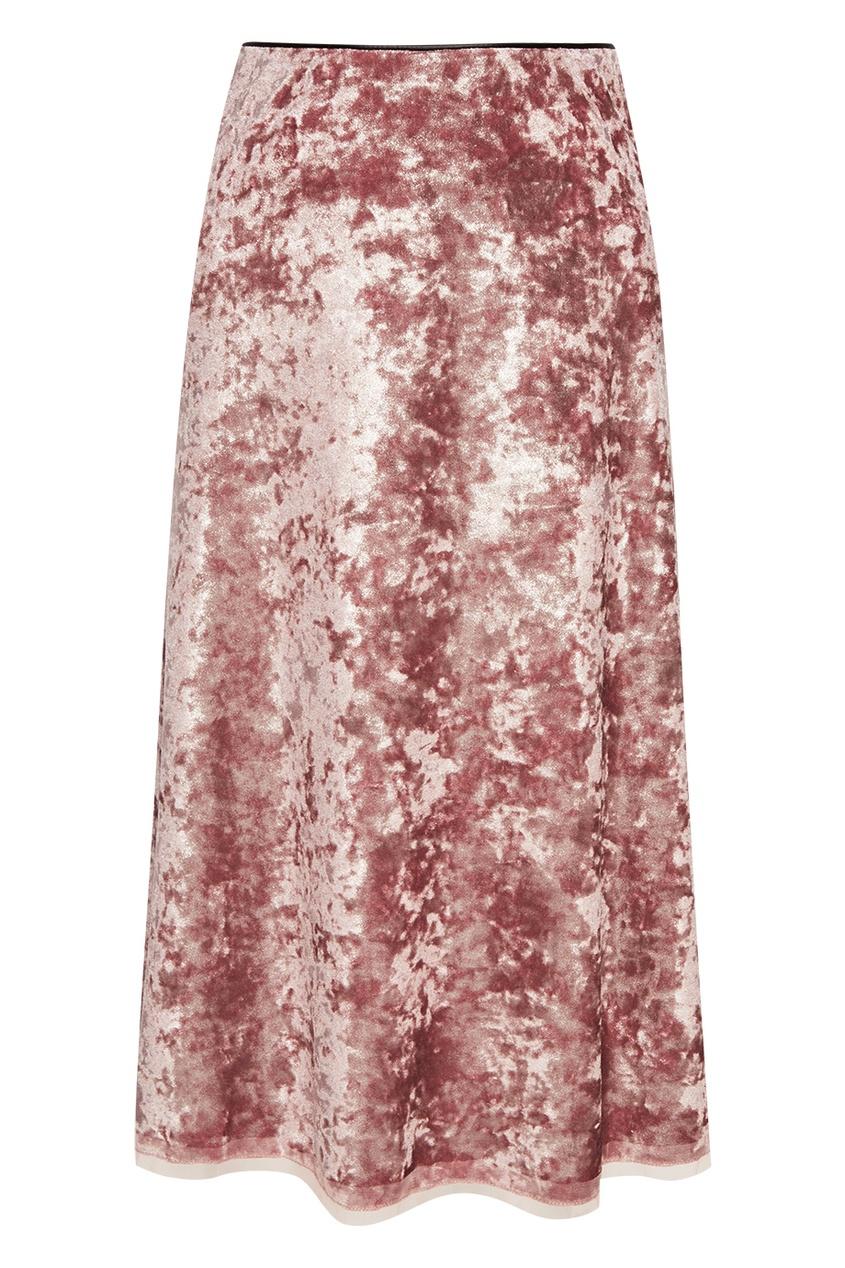 Бархатная розовая юбка