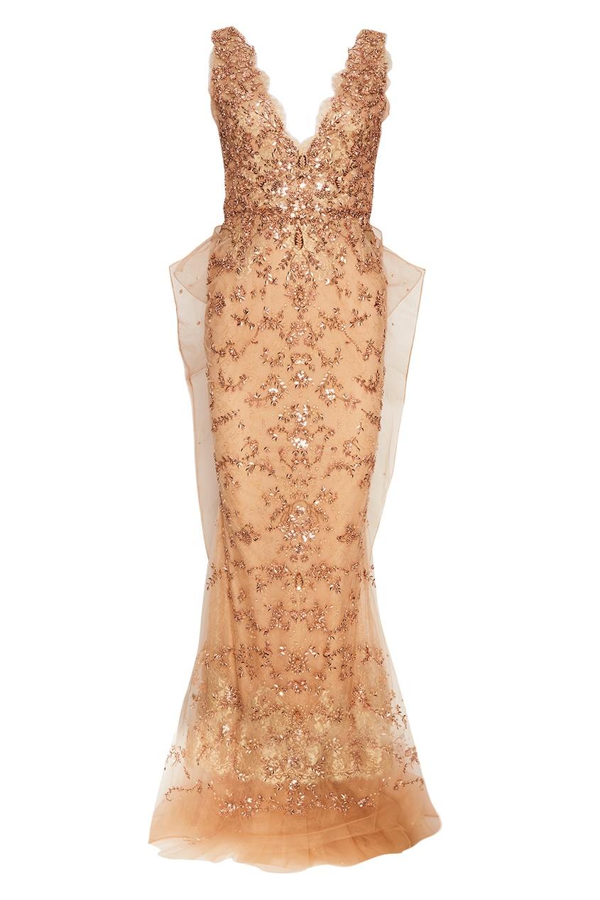 Marchesa Платье-макси с пайетками