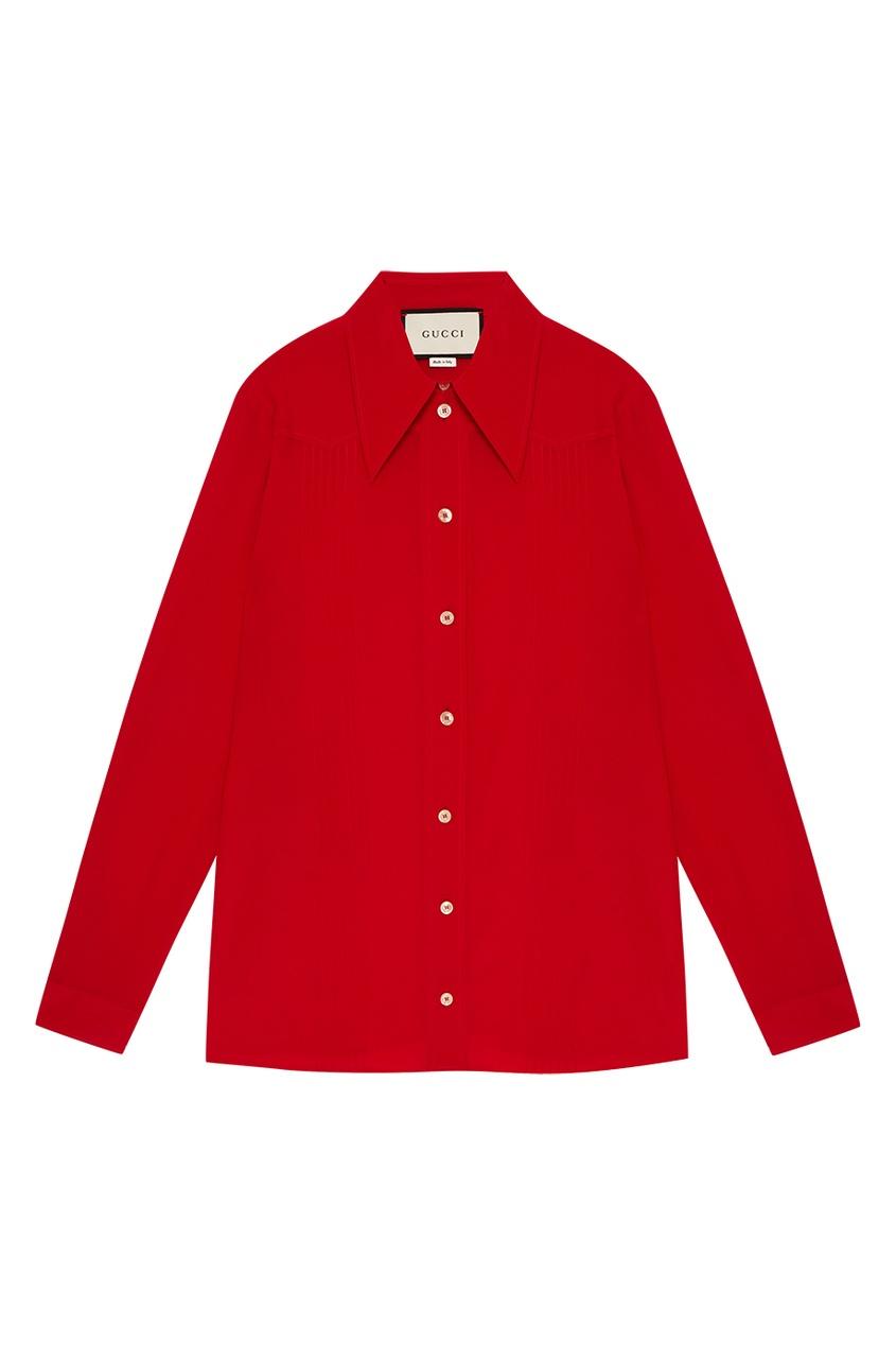 Gucci Шелковая блузка с асимметричной застежкой с какой застежкой купить серьги