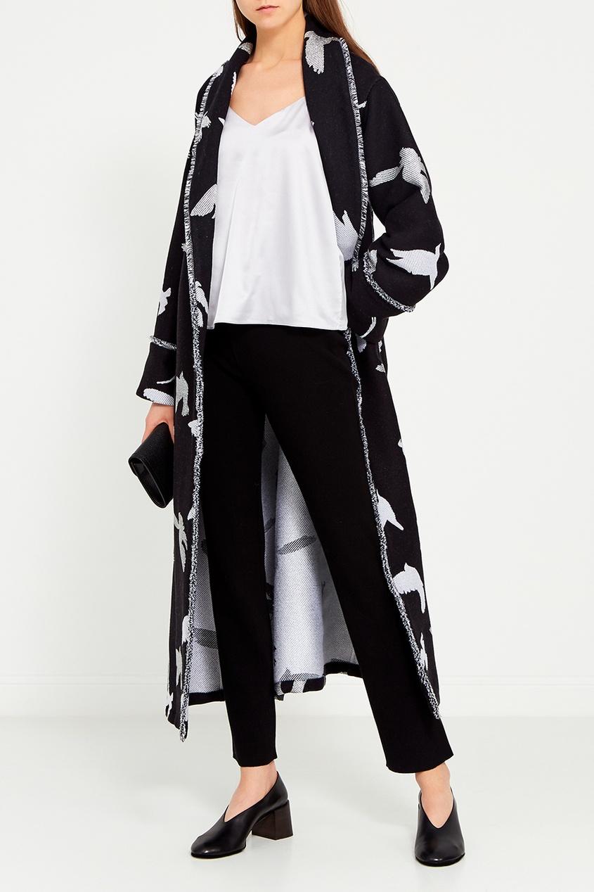 Maison Bohemique Пальто с узором с птицами пальто из ткани меланж с зигзагообразным узором