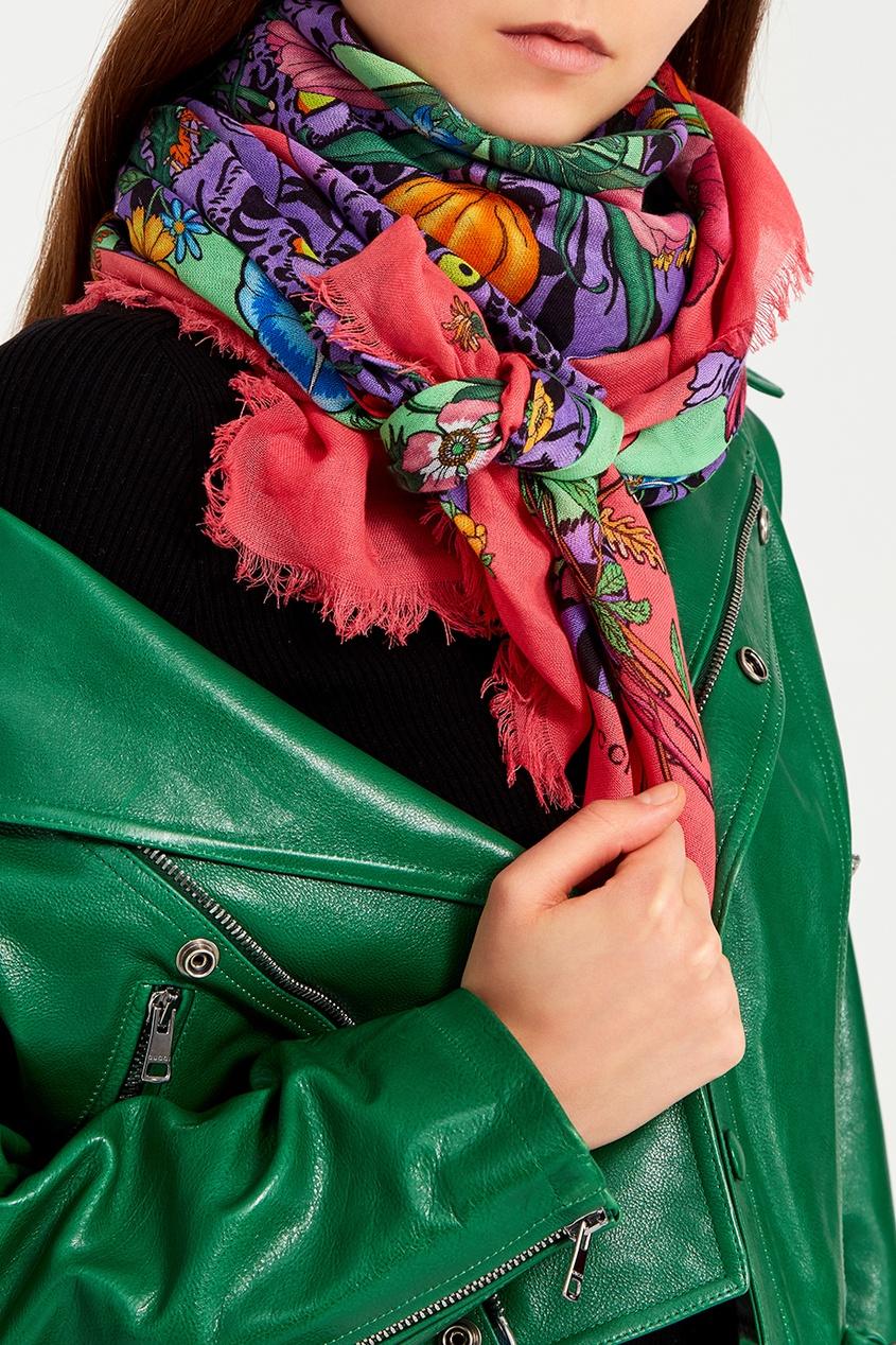 Хлопковая шаль с цветочным принтом
