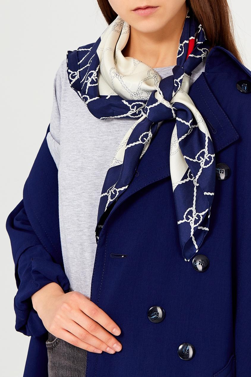 Шелковый шарф с контрастным принтом