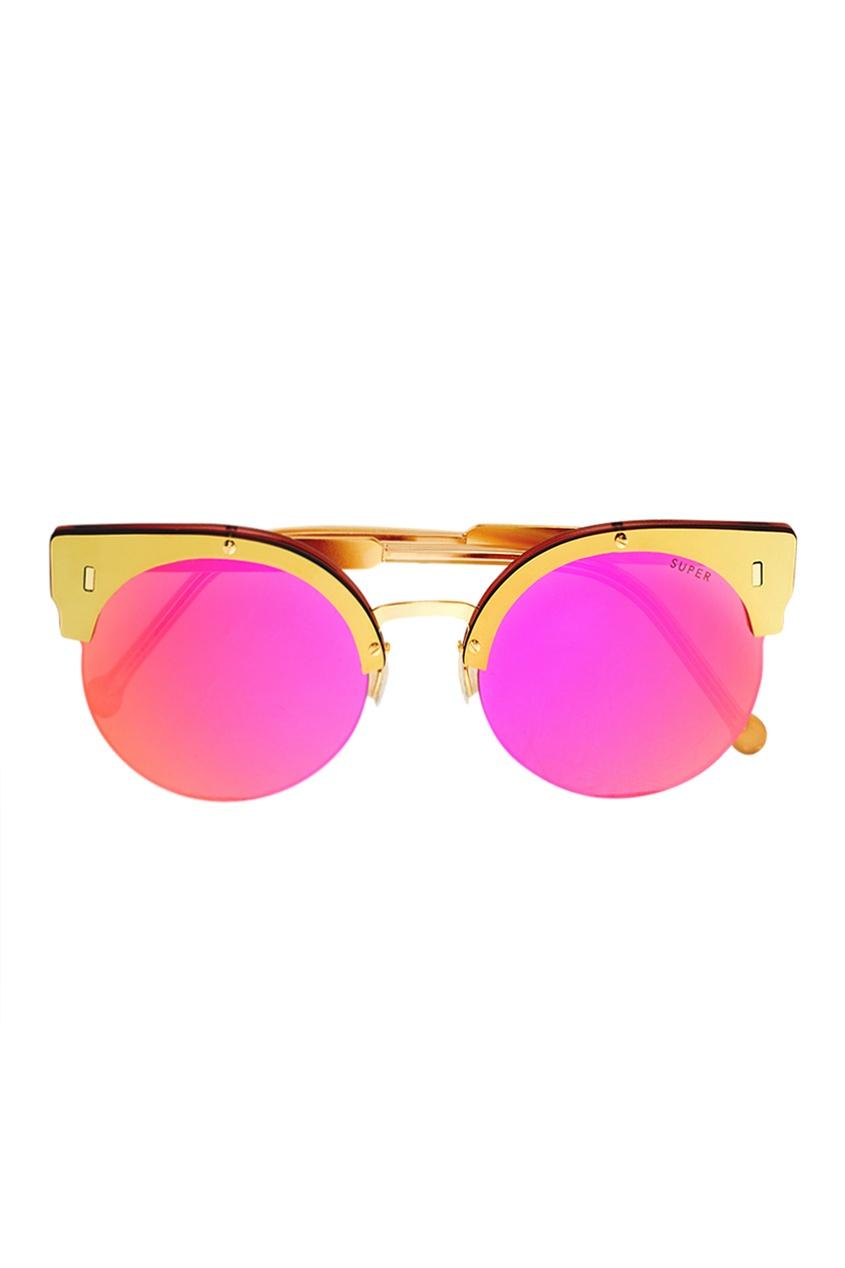 RETROSUPERFUTURE Розовые очки с золотистой оправой очки с деревянной оправой киев