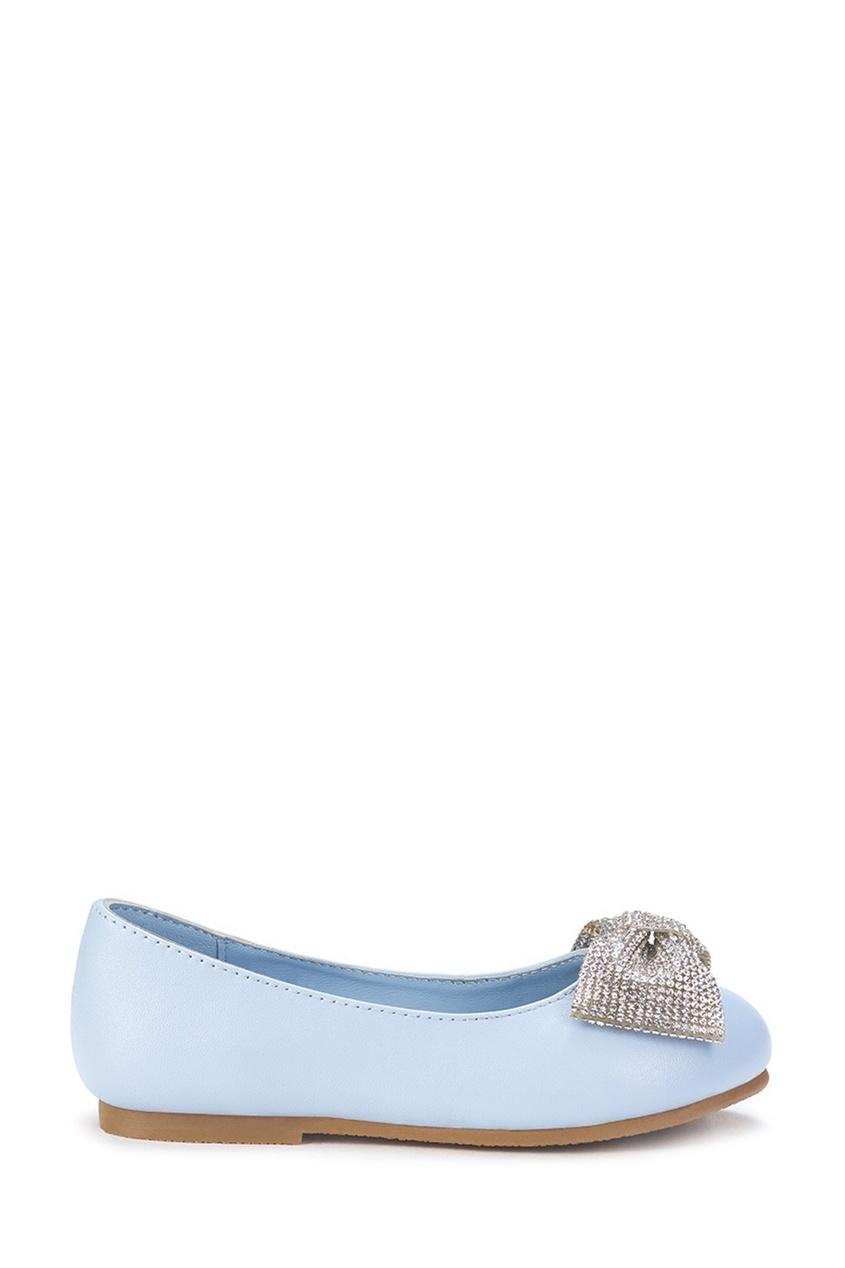 Голубые туфли с блестящим бантом