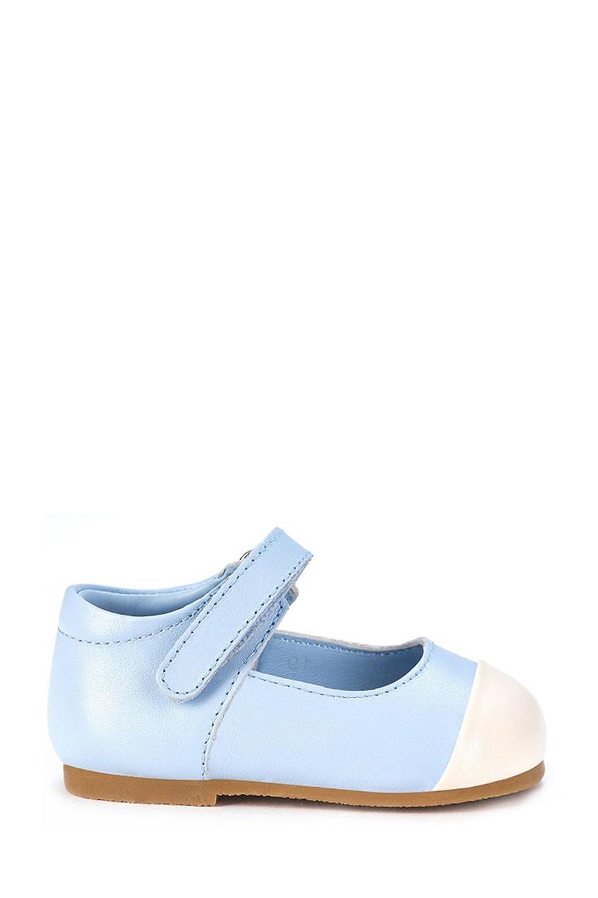Голубые туфли на липучке