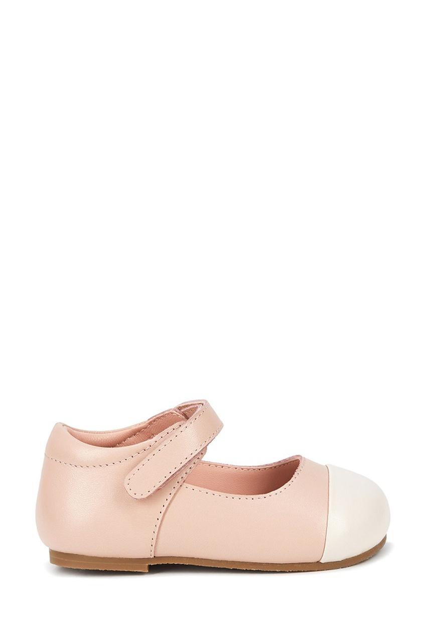 Розовые кожаные туфли на липучке