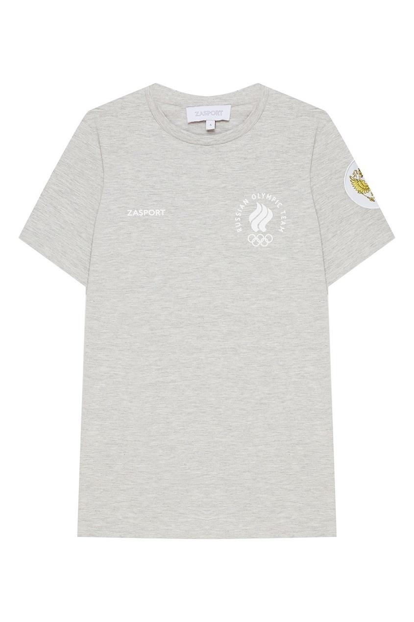 ZASPORT Серая футболка с российской символикой футболка 560 с короткими рукавами спортивная для малышей серая