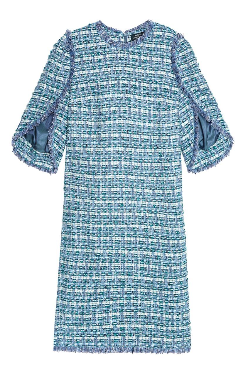 Alena Akhmadullina Голубое платье из твида платье голубое в белый горошек