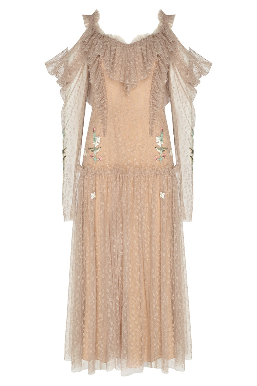 Alena Akhmadullina Бежевое платье из сетки с вышивкой alena akhmadullina платье с макропринтом