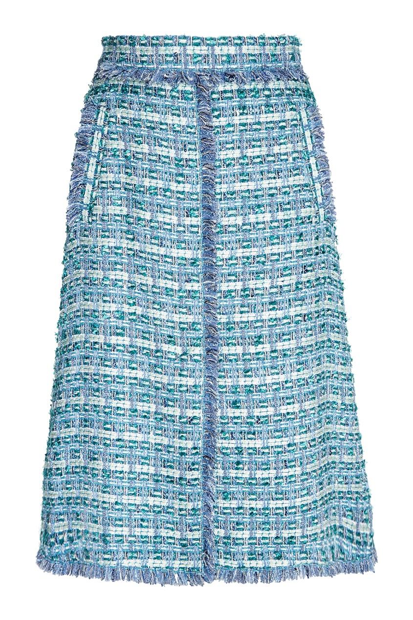 Голубая юбка из твида