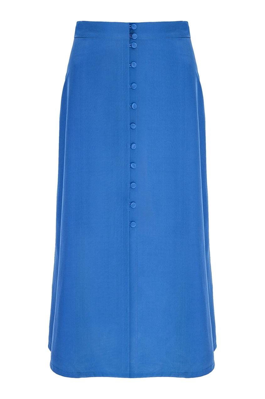 Синяя юбка-миди с пуговицами