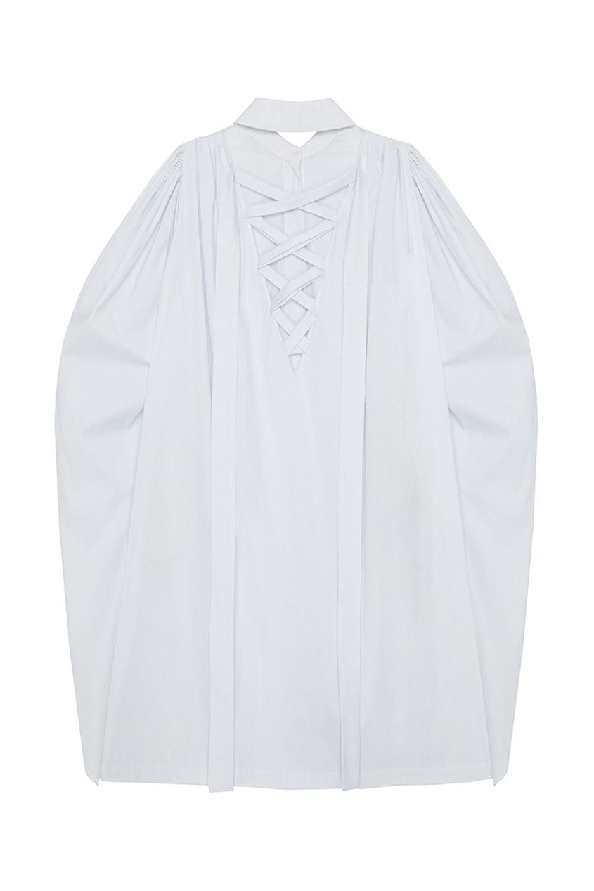 Хлопковое платье-рубашка с широкими рукавами