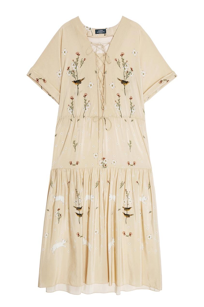 Alena Akhmadullina Шелковое платье с цветочным принтом alena akhmadullina платье с макропринтом