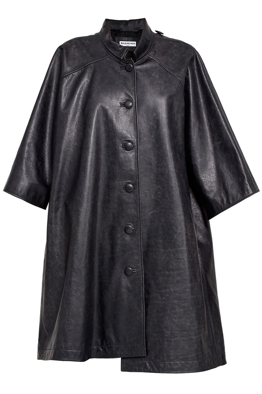 Balenciaga Кожаное пальто кожаное пальто с асимметричной молнией